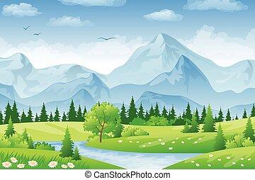 verano, praderas, paisaje, montañas