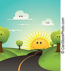 verano, primavera, bienvenida, o, caricatura, paisaje