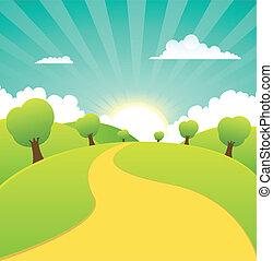 verano, primavera, rural, estaciones, o, paisaje