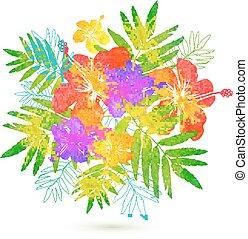 verano, ramo, tropical, brillante, vector, flores