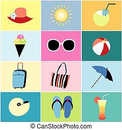verano, recreación, iconos