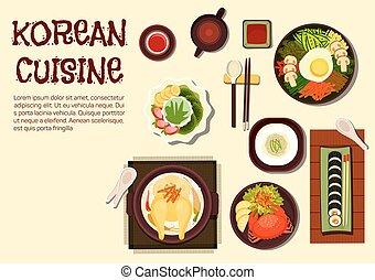 verano, refrescante, platos, plano, coreano, icono