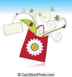 verano, regalo, con, tarjeta, para, su, texto