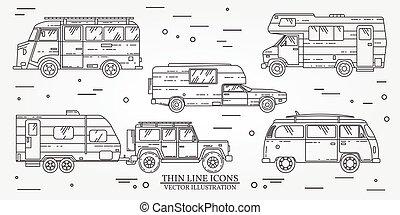 verano, rv, conjunto, turista, viaje de familia, concept., campista, jeep, remolque, línea, vector, delgado, autobús, viajero, icon., truck., viaje, suv, illustration.