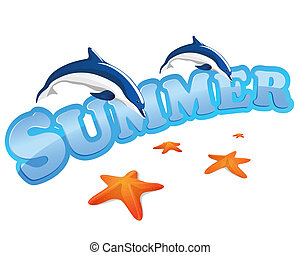 verano, señal, con, delfines