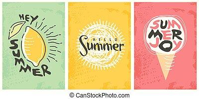 verano, selección, arte, adornado, línea, banderas