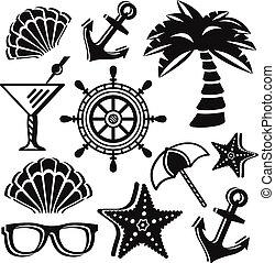 verano, set., pictograms, conjunto, original