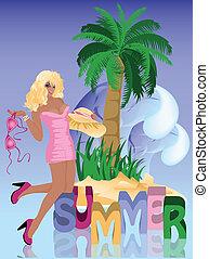 verano, sexy, niña, vector