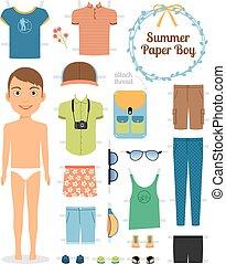 verano, shoes, muñeca, niño, papel, ropa