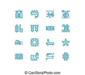 verano, snorkeling, perfecto, traje, tubo, -, equipo, signs., buceo, pixel, nade, lineal, icons., spearfishing, agua, línea, diver., máscara, deporte, delgado, actividad, 64x64, escafandra autónoma, aletas