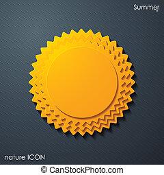 verano, sol, icono