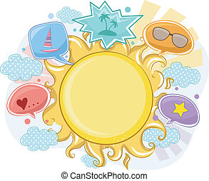 verano, sol, marco, plano de fondo