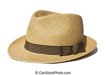 verano, sombrero de paja, aislado, blanco, plano de fondo
