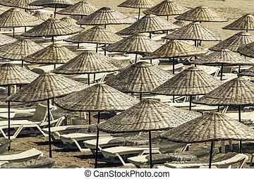 verano, sun loungers, soleado, above., vacío, paraguas,...