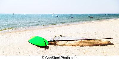 verano, Surfeo, playa, mar