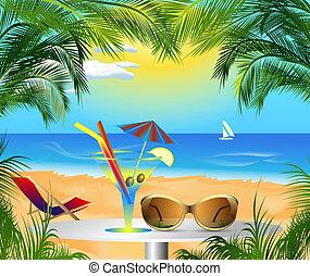 verano, tarjeta, con, vista de mar
