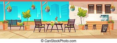 verano, terraza, café, café, al aire libre, ciudad
