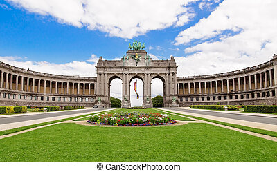 verano, triunfal, parc, arco, bélgica, flores, bruselas, ...