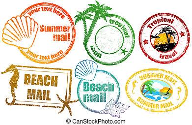 verano, tropical, sellos