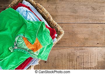 verano, unironed, limpio, cesta, lavadero, ropa