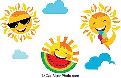 verano, vacation;, conjunto, de, feliz, sol, iconos