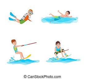 verano, vector, colección, ilustración, actividades
