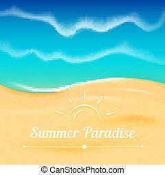 verano, vector, plano de fondo, con, mar, vista.
