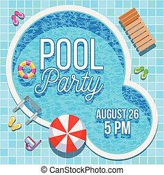 verano, vector, plantilla, invitación, fiesta, piscina, ...