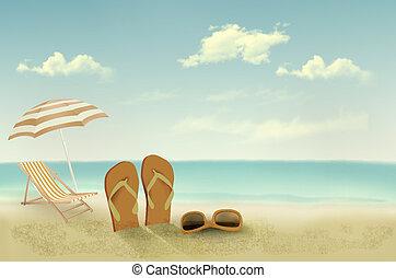 verano, vector, retro, vacaciones, fondo.