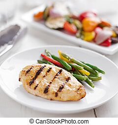 verano, vegetables., asado a la parilla, -, tiempo, pollo asado parrilla