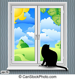 verano, ventana, gato