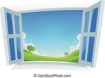 verano, ventana, o, paisaje, primavera
