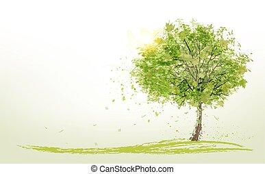 verano, verde, vector., plano de fondo, árboles.