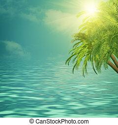 verano, viaje, fondos, con, palmera