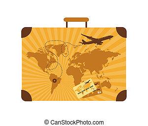 verano, viaje, maleta