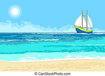 verano, vista de mar, con, velero, plano de fondo