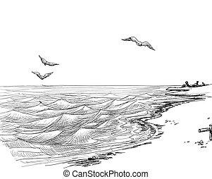 verano, vista marina, bosquejo