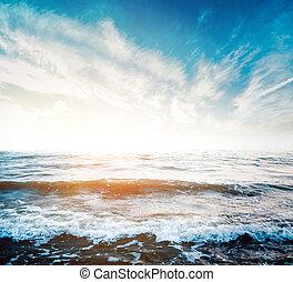 verano, vista marina, salida del sol