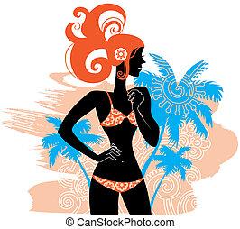 verano, woman?s, silueta, plano de fondo