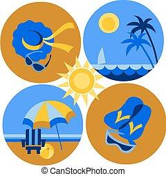 verano, y, iconos de viajar, de, playa, y, mar, -2