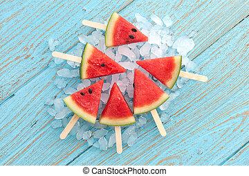 verano, yummy, chupete helado, dulce, teak, fruta, sandía, ...