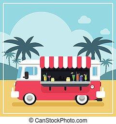 verano, zalameros, camión, bebidas