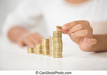 verantwoordelijkheid, financieel, handen, concept