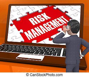 verantwoordelijkheid, management, op, draagbare computer, het tonen, analyse, 3d, vertolking