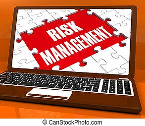 verantwoordelijkheid, management, op, draagbare computer, het tonen, riskant, analyse