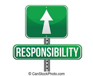verantwoordelijkheidsgevoel, ontwerp, straat, illustratie, meldingsbord