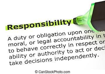 verantwortung, hervorgehoben, in, grün
