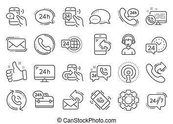 verarbeitung, callback, icons., satz, vektor, linie, ...