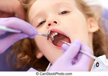 verarbeitung, zahnarzt, kleines mädchen