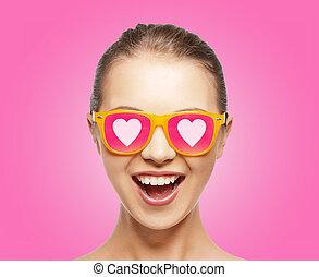 verbaasd, tiener meisje, in, zonnebrillen